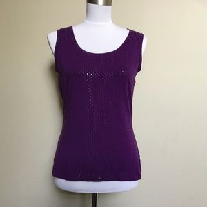 ST JOHN spring purple sequin square dot tank S